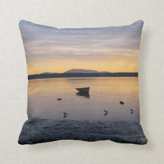 Seabirds and Boat Throw Pillow