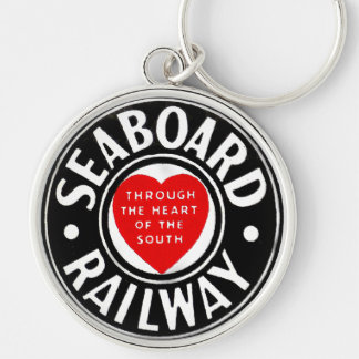 Seaboard Air Line Railway Heart Logo Silver-Colored Round Keychain