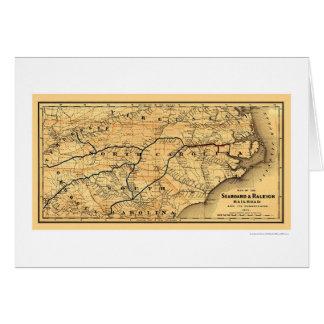 Seaboard & Raleigh Railroad Map 1874 Card