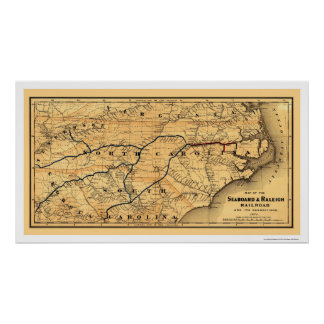 Seaboard Raleigh Railroad Map 1874 Posters