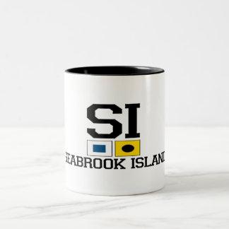 "Seabrook Island ""Nautical Flags"" Design Two-Tone Coffee Mug"