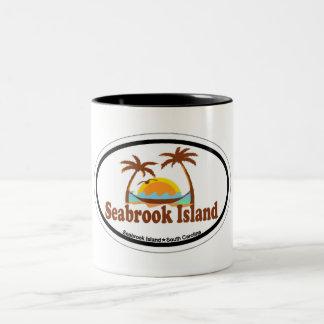 Seabrook Island Oval Design. Two-Tone Coffee Mug