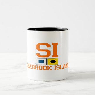 "Seabrook Island SC  ""Nautical Flags"" Design. Two-Tone Coffee Mug"