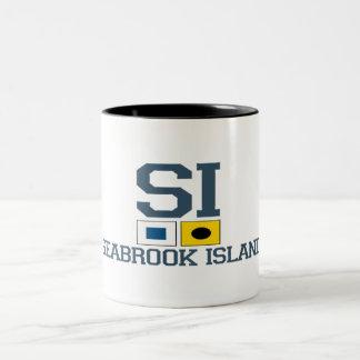 "Seabrook Island SC - ""Nautical Flags"" Design. Two-Tone Coffee Mug"