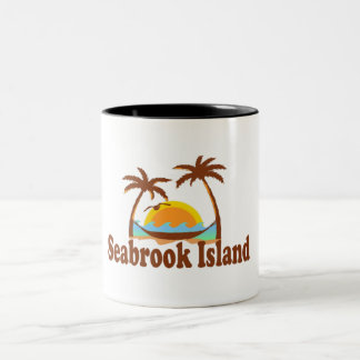 "Seabrook Island ""Sun and Palm Trees"" Design Two-Tone Coffee Mug"