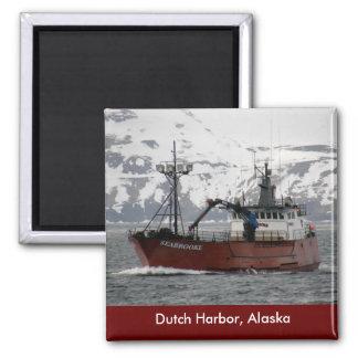 Seabrooke, barco del cangrejo en el puerto holandé iman de frigorífico