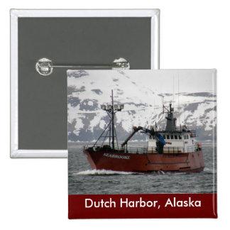 Seabrooke, Crab Boat in Dutch Harbor, Alaska Pinback Button
