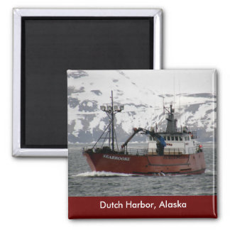 Seabrooke, Crab Boat in Dutch Harbor, Alaska 2 Inch Square Magnet