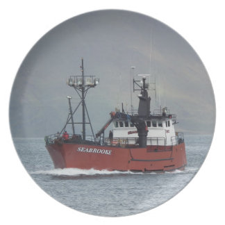 Seabrooke Crab Fishing Boat in Dutch Harbor AK Plate