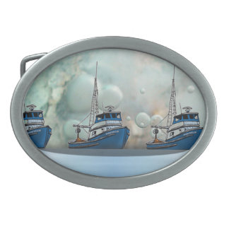Seafaring storm and boats belt buckle