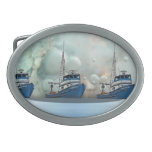 Seafaring storm and boats belt buckles