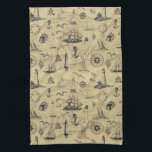 "Seafaring Vintage Nautical Old Map Pattern Hand Towel<br><div class=""desc"">Add a classic nautical touch to your home or beach cottage,  with this vintage seafaring pattern. A variety of vintage nautical elements like ships,  boats,  lighthouses,  anchors,  sea gulls,  seashells and ship's wheels,  cover an antique map background.</div>"