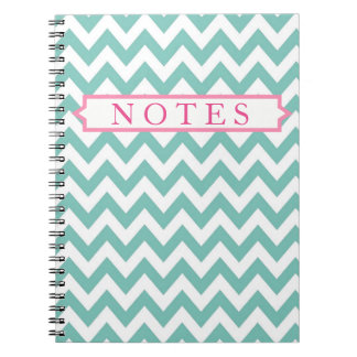 Seafoam and Pink Chevron Personalized Notebook