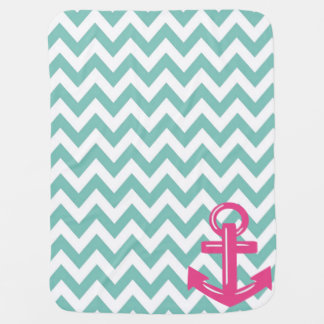 Seafoam and White Chevron Anchor Throw Blanket Swaddle Blankets
