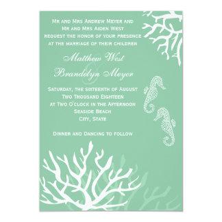 Seafoam Blue Coral Seahorse Wedding Invitations