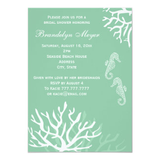 Seafoam Coral Reef Seahorse Wedding Invitations
