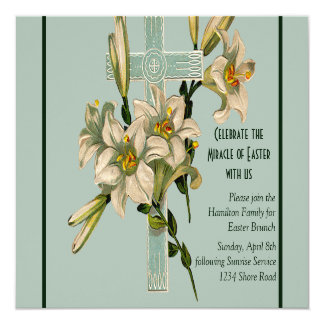 Seafoam Cross and Lilies Invitation