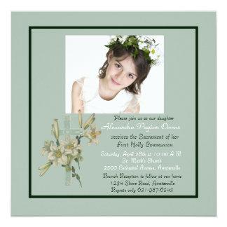 Seafoam Cross and Lilies Photo Invitation