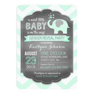 Seafoam Elephant Chevron Baby Shower Card