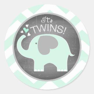 Seafoam Elephant Chevron Baby Shower Classic Round Sticker