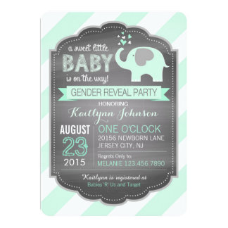 Seafoam Elephant Diagonal Stripe Baby Shower Card