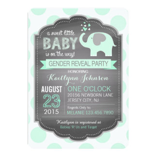 Seafoam Elephant Dot Baby Shower Card