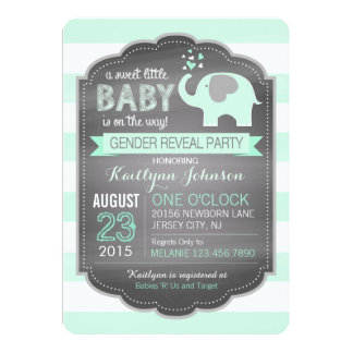 Seafoam Elephant Stripe Baby Shower Card