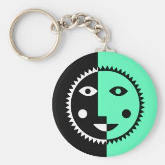 Seafoam Green Abstract Sun Basic Round Button Keychain