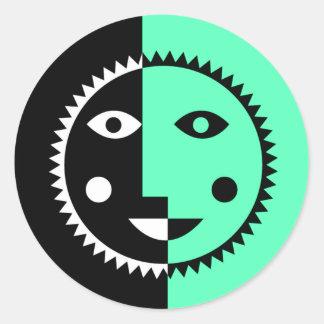 Seafoam Green Abstract Sun Classic Round Sticker