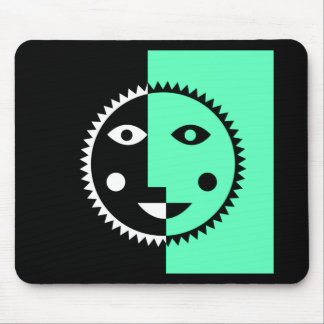 Seafoam Green Abstract Sun Mouse Pad