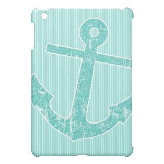 Seafoam Green Anchor Stripes Case For The iPad Mini