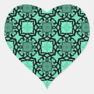Seafoam green and black geometric heart heart sticker