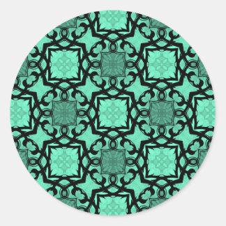 Seafoam green and black geometric kaleidoscope classic round sticker