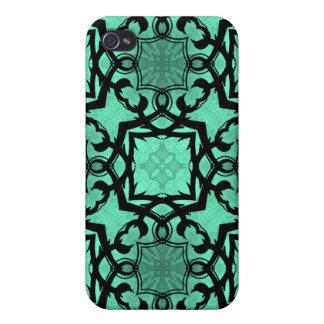 Seafoam green and black geometric kaleidoscope iPhone 4/4S case