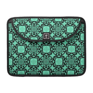 Seafoam green and black geometric kaleidoscope MacBook pro sleeve