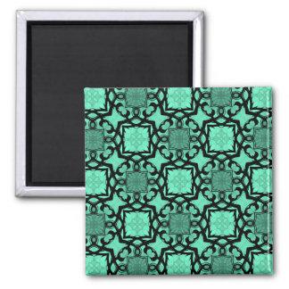 Seafoam green and black geometric kaleidoscope magnet