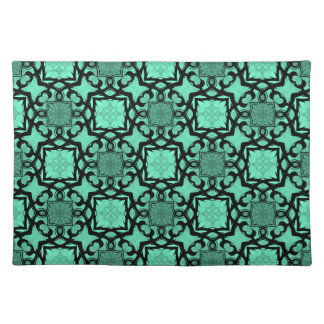 Seafoam green and black geometric kaleidoscope placemat