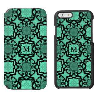 Seafoam green and black geometric kaleidoscope incipio watson™ iPhone 6 wallet case