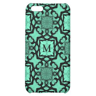 Seafoam green and black geometric monogram iPhone 5C cover