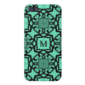 Seafoam green and black geometric monogram iPhone SE/5/5s cover
