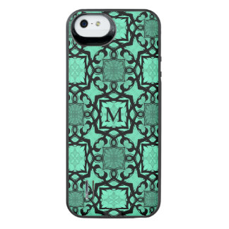 Seafoam green and black geometric monogrammed uncommon power gallery™ iPhone 5 battery case