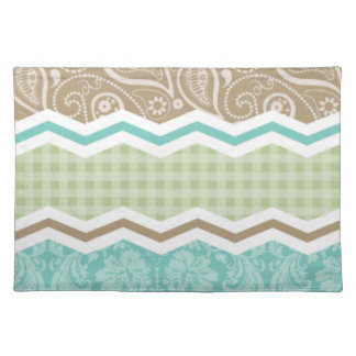 Seafoam Green and Light Brown Country Patterns Cloth Placemat