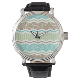Seafoam Green and Light Brown Country Patterns Wrist Watch