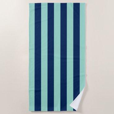 Beach Themed Seafoam Green and Navy Stripes Beach Towel
