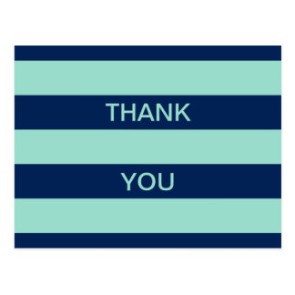 Seafoam Green and Navy Stripes Thank You Postcard