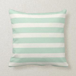 Seafoam Green and Off-White Stripes Throw Pillow