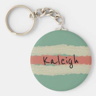Seafoam Green and Salmon Personalized Keychain