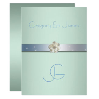 Seafoam Green and Silver, Gay Wedding Invitation