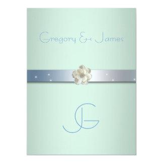 Seafoam Green and Silver Gay Wedding Invitation