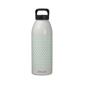 Seafoam Green and White Chevron Stripes Reusable Water Bottle
